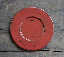 Distressed Wood Candle Plate - Burnt Red