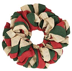 Red, Natural and Green Burlap Wreath (15 inch)