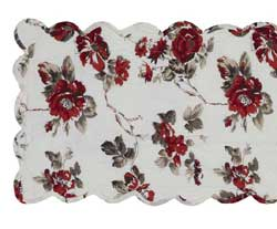 Mariell Red Floral Quilted 48 inch Table Runner