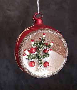 Vintage Indented Ornament with Tree - Red