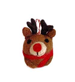 Reindeer Tufted Wool Ornament