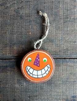 Jack O'Lantern with Purple Nose Wood Slice Ornament