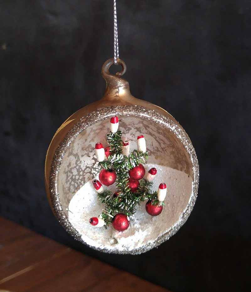 Vintage Indented Ornament with Tree - Silver