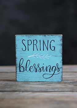 Spring Blessings Shelf Sitter Sign