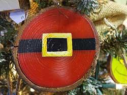 Santa Belt Wood Slice Ornament (Personalized)