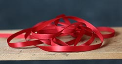 Red Single Faced Poly Satin Ribbon, 1/4 inch