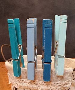 Distressed Clothespins (Set of 4) - Coastal Blues