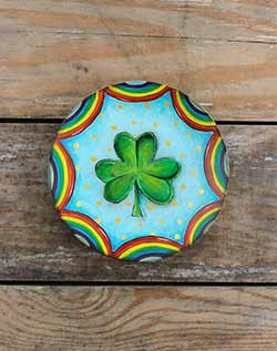 Clover & Rainbows Hand Painted Plate