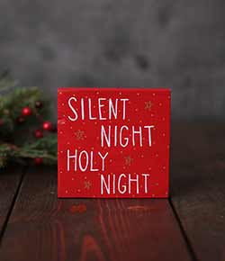 Silent Night Holy Night Shelf Sitter Sign