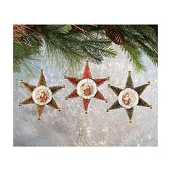 Bottle Brush Star Ornaments (Set of 3)