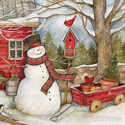 Snowman Barn Paper Cocktail Napkins