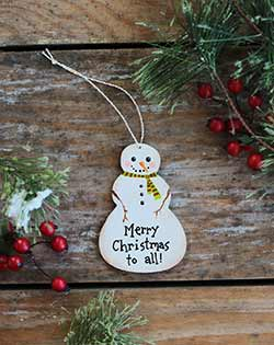 Merry Christmas Snowman Ornament (Personalized)
