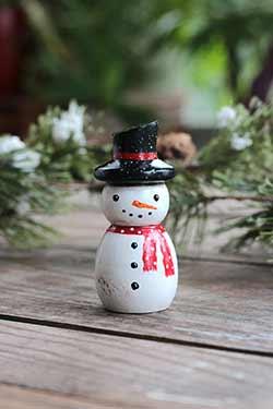 Snowman Peg Doll Figurine (or Ornament)