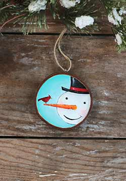 Snowman with Cardinal Wood Slice Ornament (Personalized)