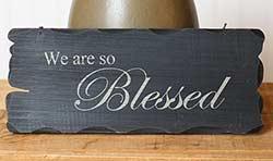 So Blessed Tattered Wood Sign - Burgundy