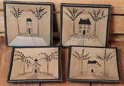 Saltbox house Plates (Set of 4)