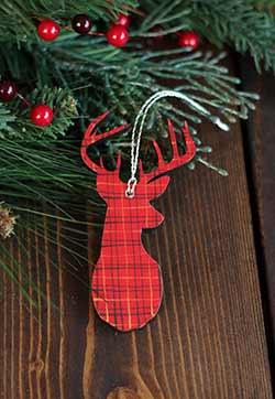 Tartan Plaid Stag Head Personalized Ornament