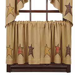 Stratton Burlap Applique Star Cafe Curtains - 24 inch Tiers