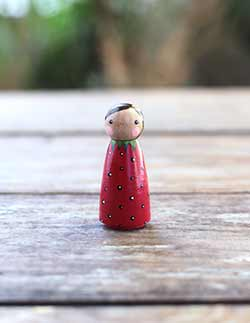 Strawberry Girl Peg Doll - Small
