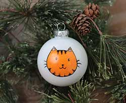 Cat Head Personalized Glass Ornament - Orange