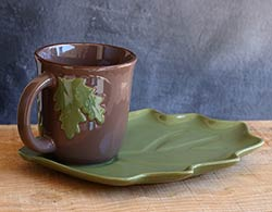Fall Leaf Mugs & Plate Set (Green)