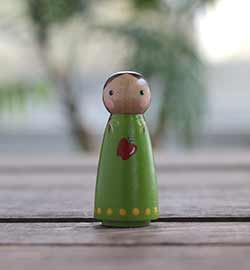 Red Apple Girl Peg Doll (or Ornament)