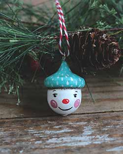 Retro Snowman Acorn Ornament with Polka Dot Hat
