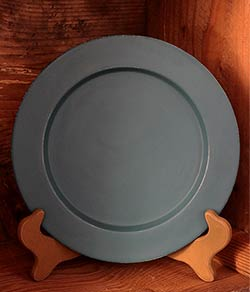 Distressed Wooden Plate, 9.5 inch - Teal