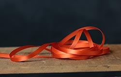 Orange Single Faced Poly Satin Ribbon, 1/4 inch