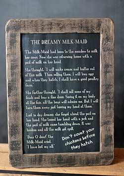 Dreamy Milkmaid Folk Tale Blackboard