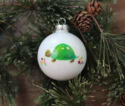 Turtle Personalized Glass Ornament
