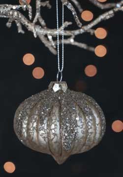 Snow Cap Glass Ornament - Silver