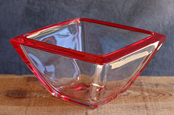 Small Waither Glass Square Bowl - Red
