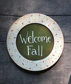 Welcome Fall with Leaves Plate