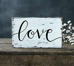 Love Custom Chippy Paint Wood Sign - White