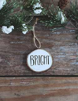 Bright Wood Slice Ornament (Personalized)