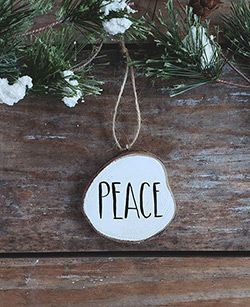 Peace Wood Slice Ornament (Personalized)