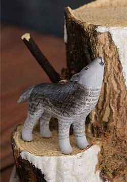Recycled Paper Animal Ornament - Wolf
