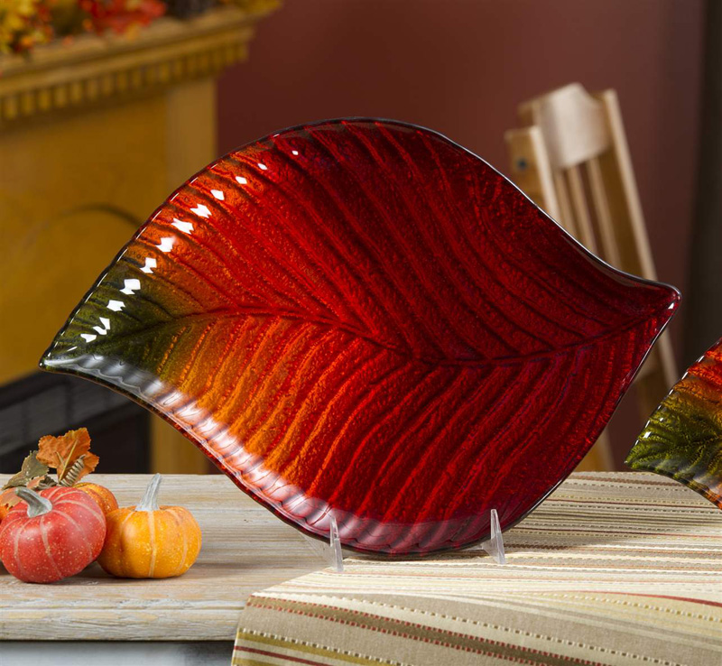 Fall Glass Leaf Serving Platter at The Weed Patch