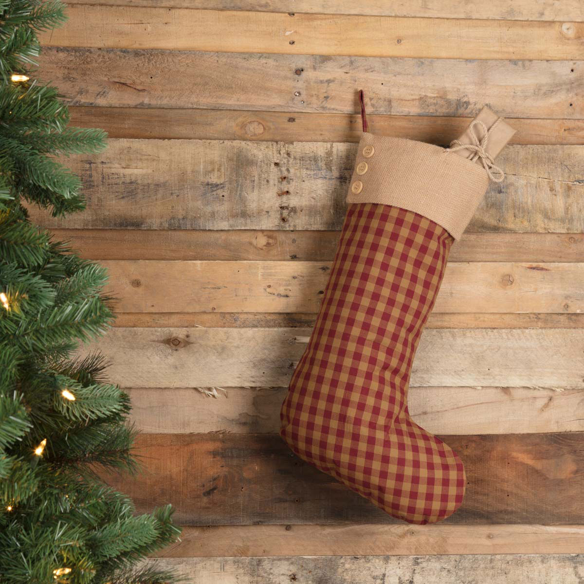 Burgundy Check Primitive Christmas Stocking at The Weed Patch