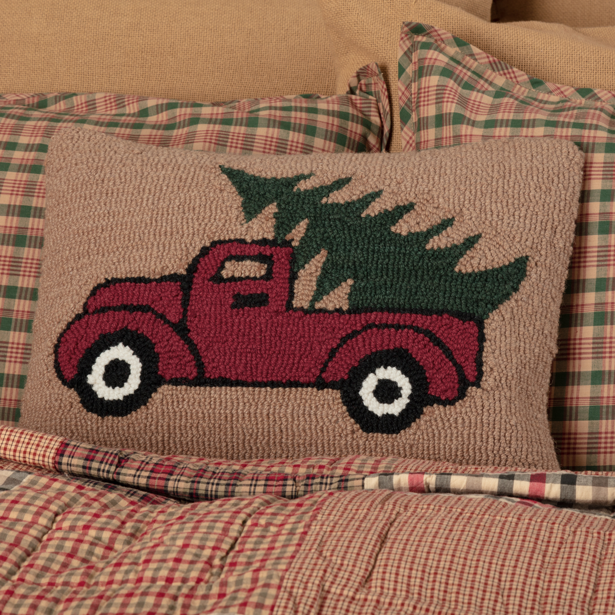 Primitive Christmas Pillow - Farm Truck with Christmas Tree - at The Weed Patch