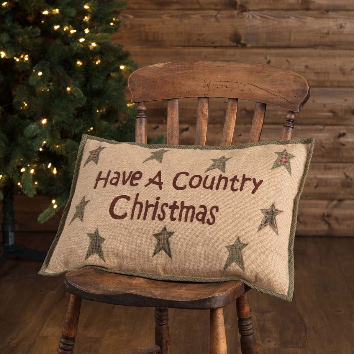 Have a Country Christmas Primitive Throw Pillow at The Weed Patch