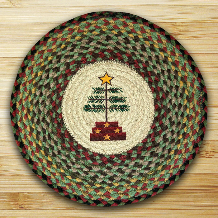 Feather Tree Jute Primitive Christmas Chair Pad at The Weed Patch