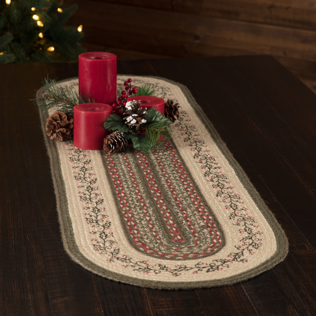 Holly Berry jute primitive Christmas table runner at The Weed Patch