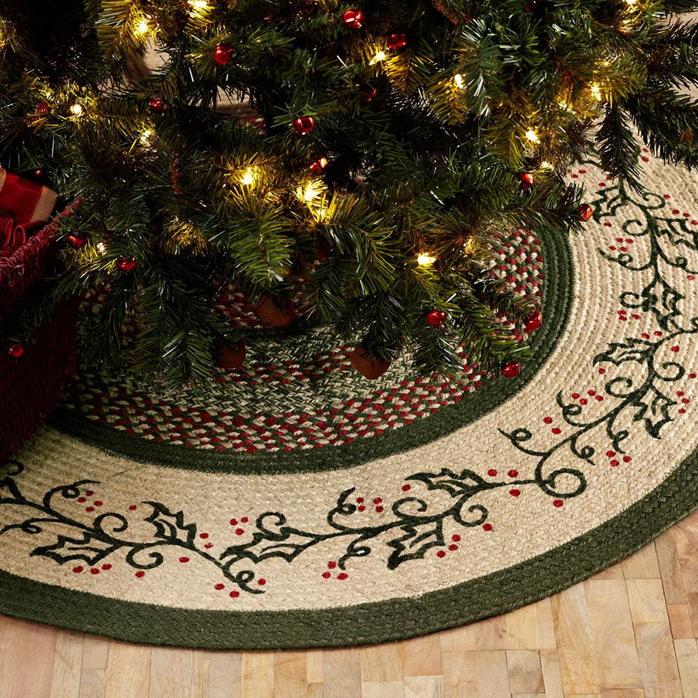 Holly Berry Jute Primitive Christmas Tree Skirt at The Weed Patch