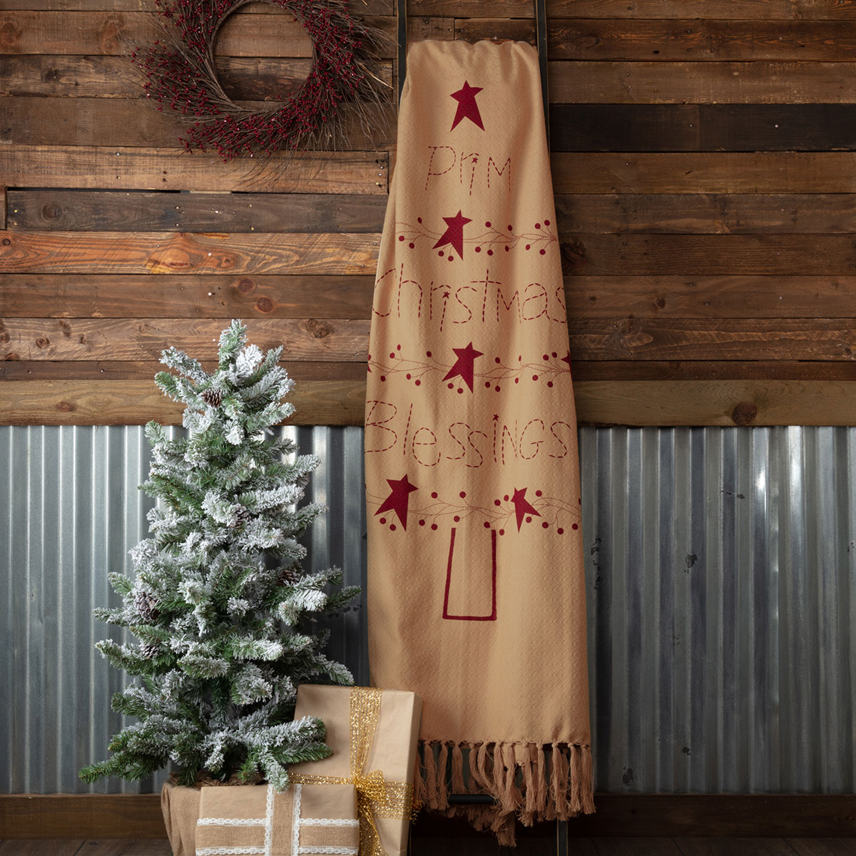 Prim Christmas Blessings Woven Throw at The Weed Patch