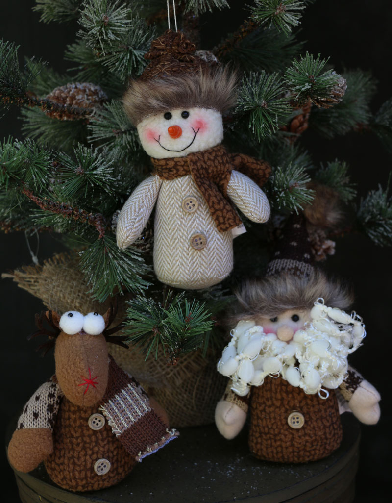 Primitive stuffed snowman, moose, and santa christmas ornaments at The Weed Patch