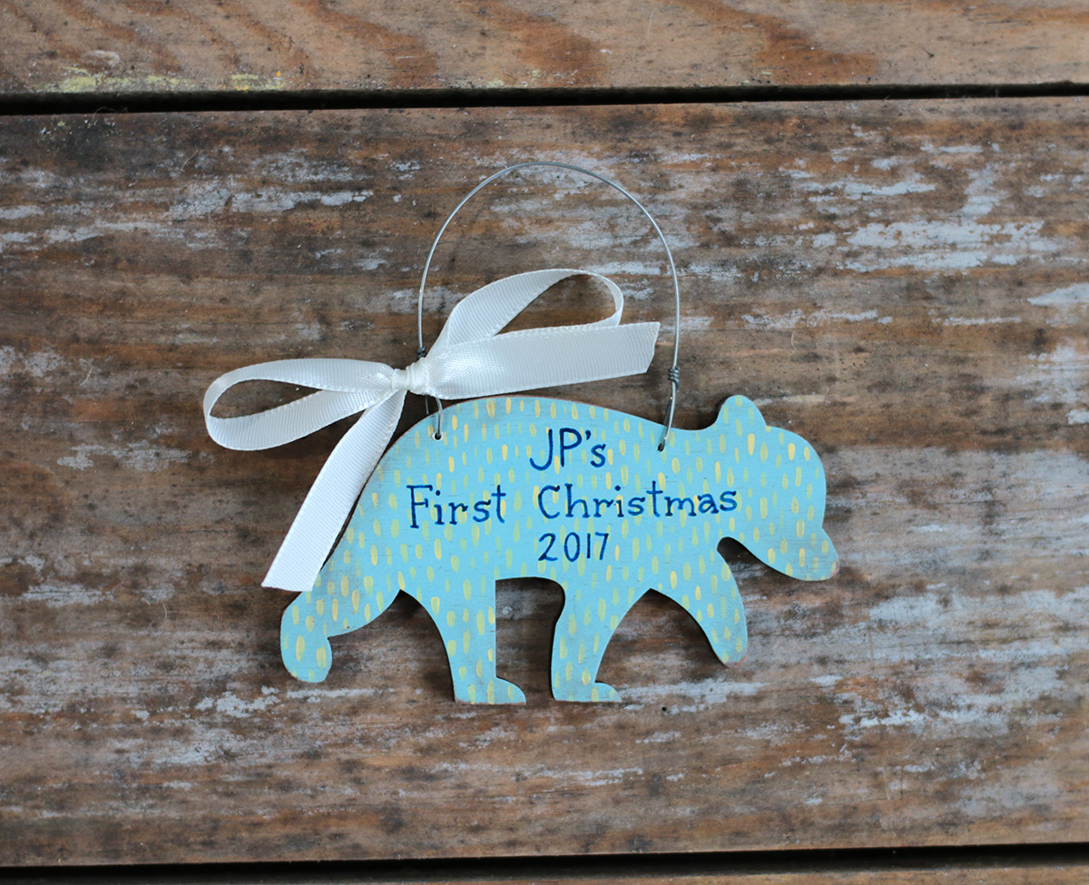 Baby Bear Personalized Boy Christmas Ornament at The Weed Patch