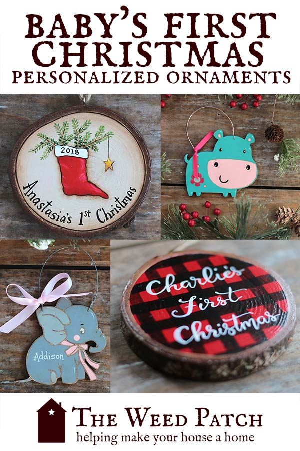 Custom, hand painted, hand lettered Baby's First Christmas personalized Christmas ornaments at The Weed Patch