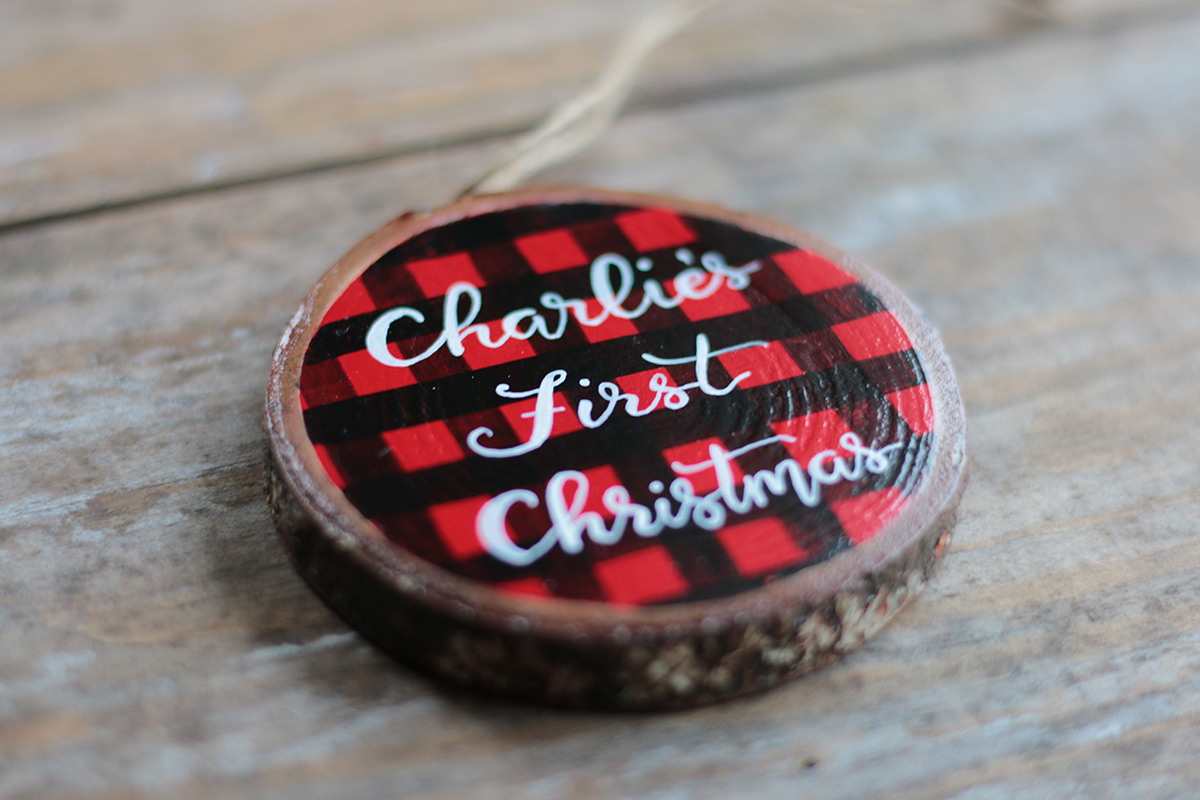 Buffalo check custom hand painted baby's first Christmas personalized ornament at The Weed Patch